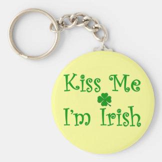 Kiss Me I'm Irish Basic Round Button Key Ring