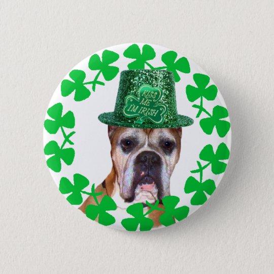 Kiss me I'm Irish Boxer Dog button