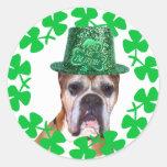 Kiss me I'm Irish Boxer Dog stickers