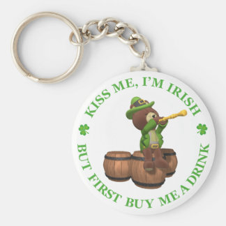 Kiss me, I'm Irish - But First Buy Me A Drink Basic Round Button Key Ring