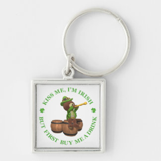 Kiss me, I'm Irish - But First Buy Me A Drink Silver-Colored Square Key Ring