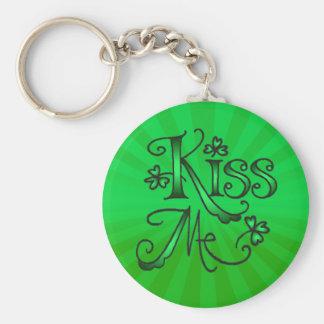 KISS ME I'M IRISH by SHARON SHARPE Basic Round Button Key Ring