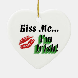 Kiss Me Im Irish Ceramic Heart Decoration