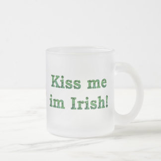 Kiss me im Irish Collection Frosted Glass Mug