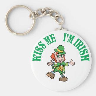Kiss Me I'm Irish Dancing Leprechaun Basic Round Button Key Ring