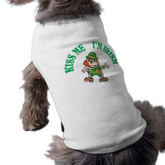 Kiss Me I'm Irish Dancing Leprechaun Sleeveless Dog Shirt