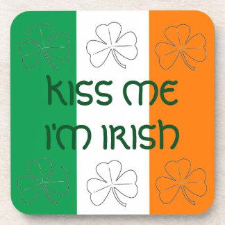 Kiss Me I'm Irish Flag and Shamrocks Coaster