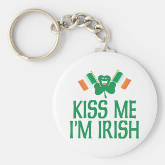 Kiss Me I'm Irish Flags Basic Round Button Key Ring