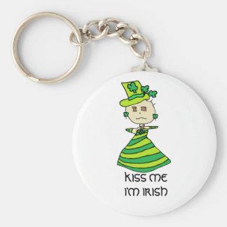 KISS ME I'M IRISH FOR ST. PATRICK'S DAY BASIC ROUND BUTTON KEY RING