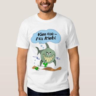 Kiss Me I'm Irish Funny Cartoon Shark Shirt