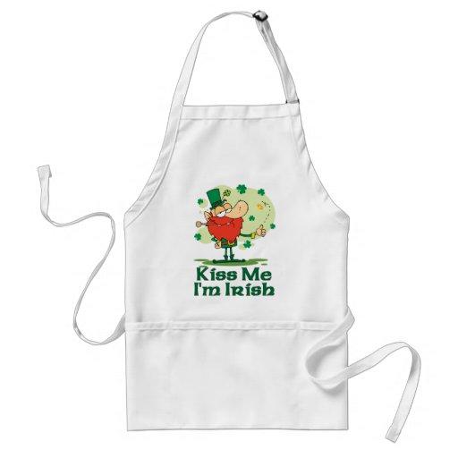 Kiss Me I'm Irish Funny Leprechaun Apron Aprons