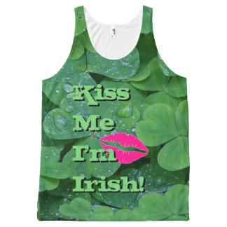 Kiss Me I'm Irish Green Clover Pink Lips Tank Top All-Over Print Tank Top