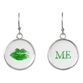 Kiss Me I'm Irish Green Lipstick Kiss Earrings