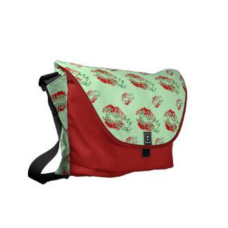 Kiss me I'm Irish Lips (Green) Messenger Bag