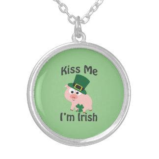 Kiss me I'm Irish Pig Round Pendant Necklace