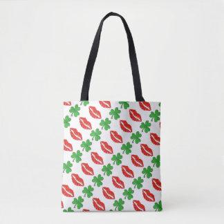 Kiss Me I'm Irish Red Lips Green Shamrocks Bag Tote Bag