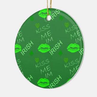 Kiss Me Im Irish Round Ceramic Decoration