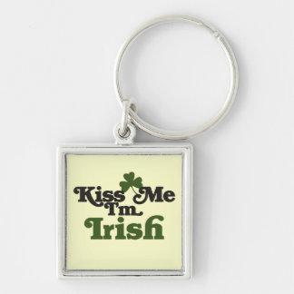 Kiss me Im Irish Silver-Colored Square Key Ring