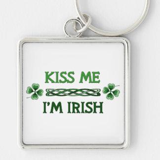 Kiss Me, I'm Irish Silver-Colored Square Key Ring