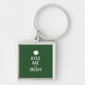 Kiss me Im Irish Silver-Colored Square Key Ring