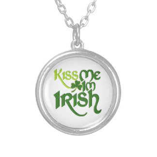 Kiss me I'm Irish Silver Plated Necklace