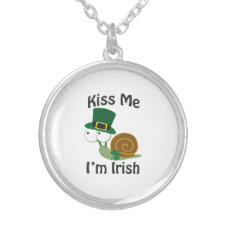 Kiss Me I'm Irish Snail Silver Plated Necklace