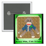 Kiss Me, I'm Irish Sock Monkey 15 Cm Square Badge