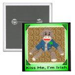 Kiss Me, I'm Irish Sock Monkey Pins