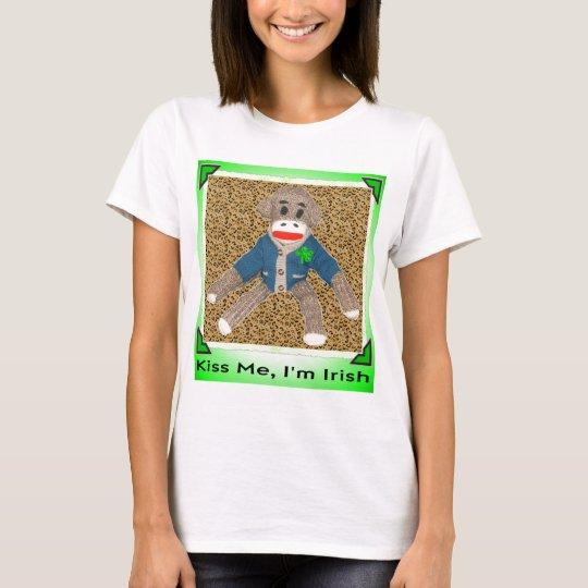 Kiss Me, I'm Irish Sock Monkey T-Shirt
