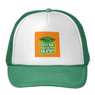 Kiss Me I'm Irish Sparkle Lips Trucker Hat
