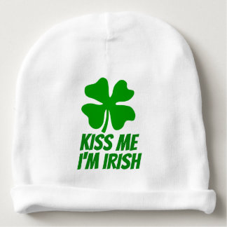 KISS ME I'M IRISH St Patricks Day baby beanie hat