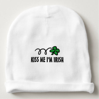 KISS ME I'M IRISH St Patricks Day baby beanie hats