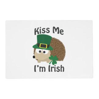 Kiss Me Im Irish St Patricks Day Hedgehog Laminated Place Mat