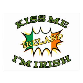Kiss me I'm Irish starburst flag Postcard