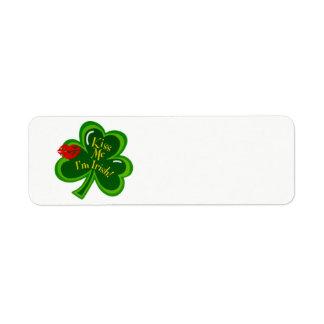 Kiss Me I'm Irish text Return Address Label