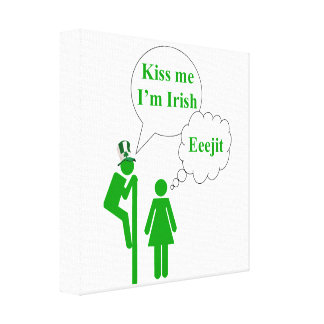 Kiss me I'm, Irish toilet sign Stretched Canvas Print