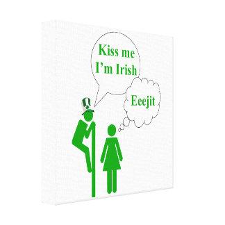 Kiss me I'm, Irish toilet sign Stretched Canvas Print