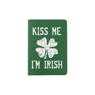 KISS ME I'M IRISH vintage shamrock passport holder