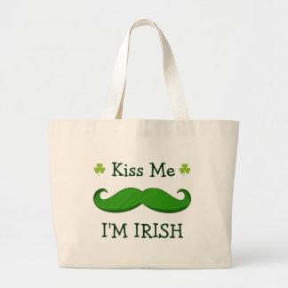 Kiss Me I'M IRISH with Green Funny Mustache Jumbo Tote Bag