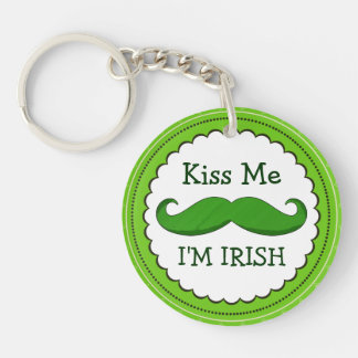 Kiss Me I'M IRISH with Green Funny Mustache Double-Sided Round Acrylic Keychain