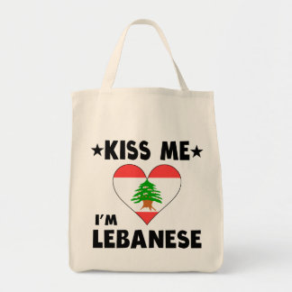 Kiss Me I'm Lebanese Grocery Tote Bag