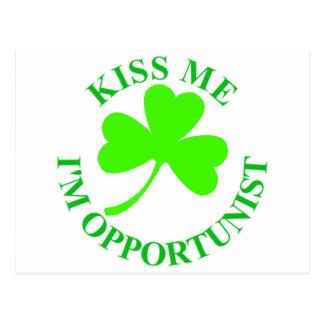KISS ME IM OPPORTUNIST IRISHTSHIRT MUG CARD POST CARDS