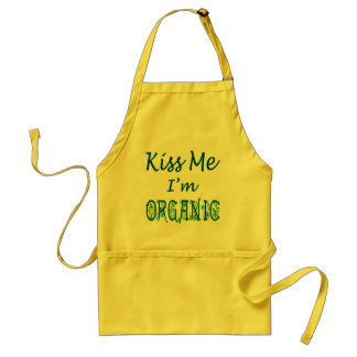 Kiss Me I'm Organic Green Saying Apron
