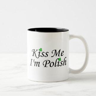 Kiss Me Im Polish St Patricks Day Clovers Two-Tone Coffee Mug