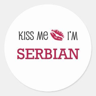 Kiss Me I'm SERBIAN Classic Round Sticker