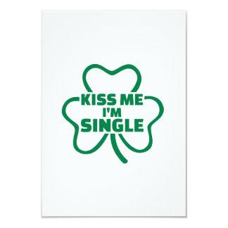 "Kiss me I'm single shamrock 3.5"" X 5"" Invitation Card"