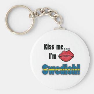 Kiss me I'm Swedish Basic Round Button Key Ring