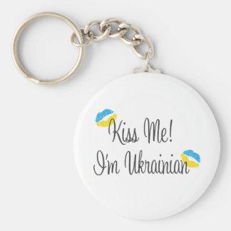 Kiss Me! I'm Ukrainian Basic Round Button Key Ring