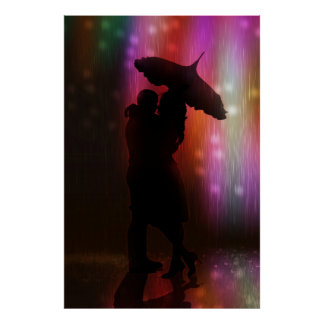 Kiss Me In The Rain Downtown Love And Romance Poster
