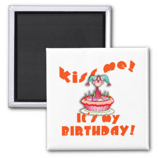Kiss Me It s My Birthday with Clown Refrigerator Magnets
